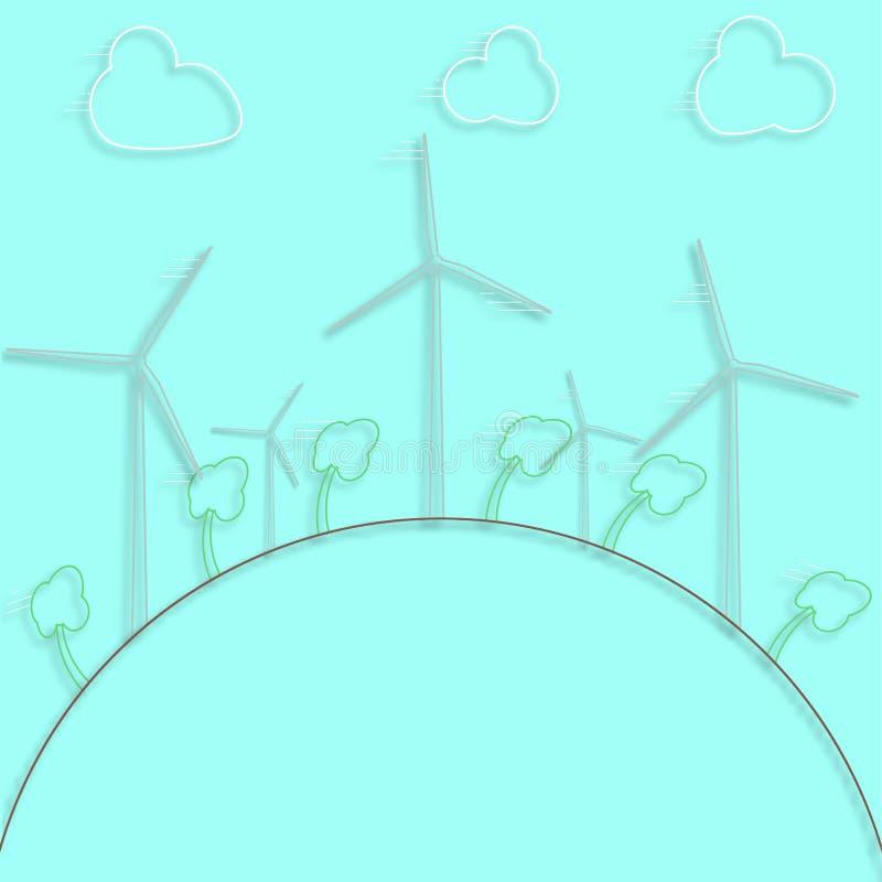 Concetto verde - energia eolica Generatori di venti - stile di vettore 3d Elemento di progettazione o infographic illustrazione vettoriale