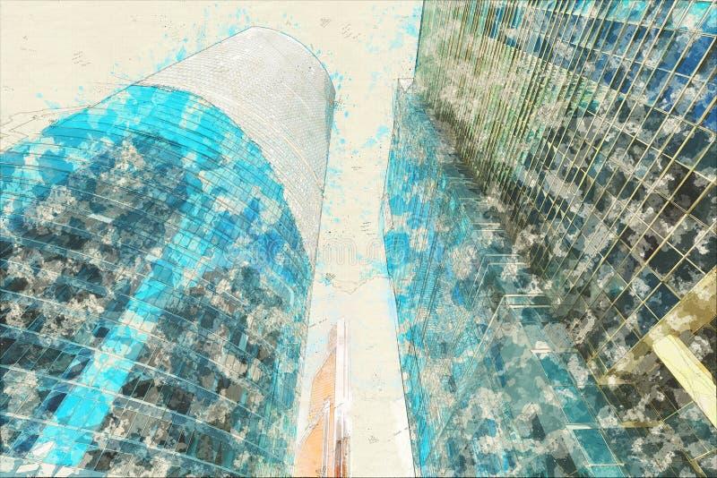 Concetto, vetro moderno degli edifici per uffici della facciata del grattacielo di schizzo immagini stock libere da diritti