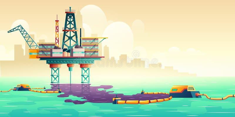 Concetto vettore della tecnologia di liquidazione delle perdite di petrolio illustrazione vettoriale