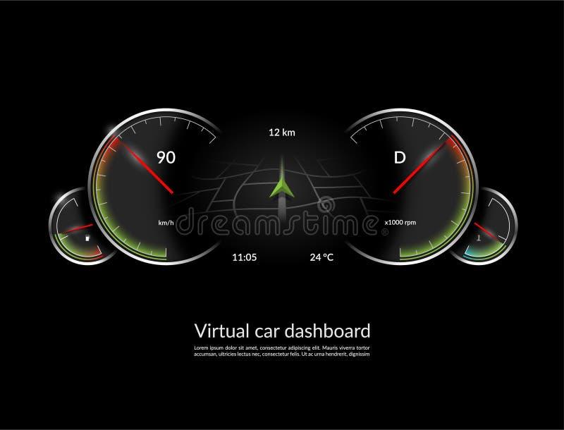 Concetto virtuale del cruscotto dell'automobile Interfaccia del veicolo di HUD con il modo di navigazione Illustrazione di vettor illustrazione di stock