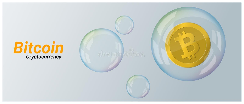 Concetto virtuale di crisi di cryptocurrency con bitcoin nel fondo della bolla di sapone illustrazione di stock
