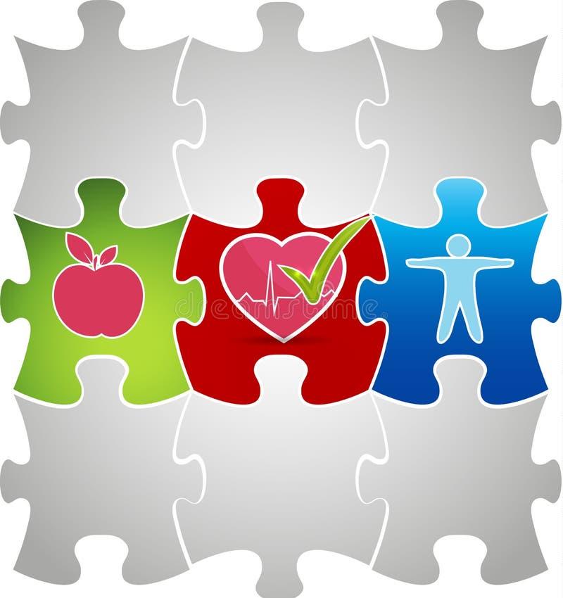 Concetto vivente sano di puzzle. L'alimento sano e la forma fisica conduce a royalty illustrazione gratis
