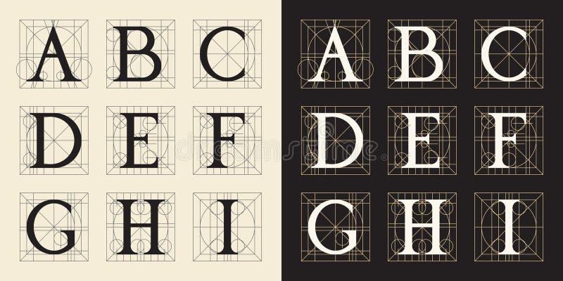 Concevant des initiales, style de vintage, lettres A - I illustration stock