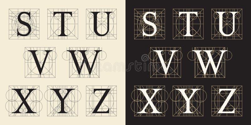 Concevant des initiales, style de vintage, lettres S - Z illustration de vecteur