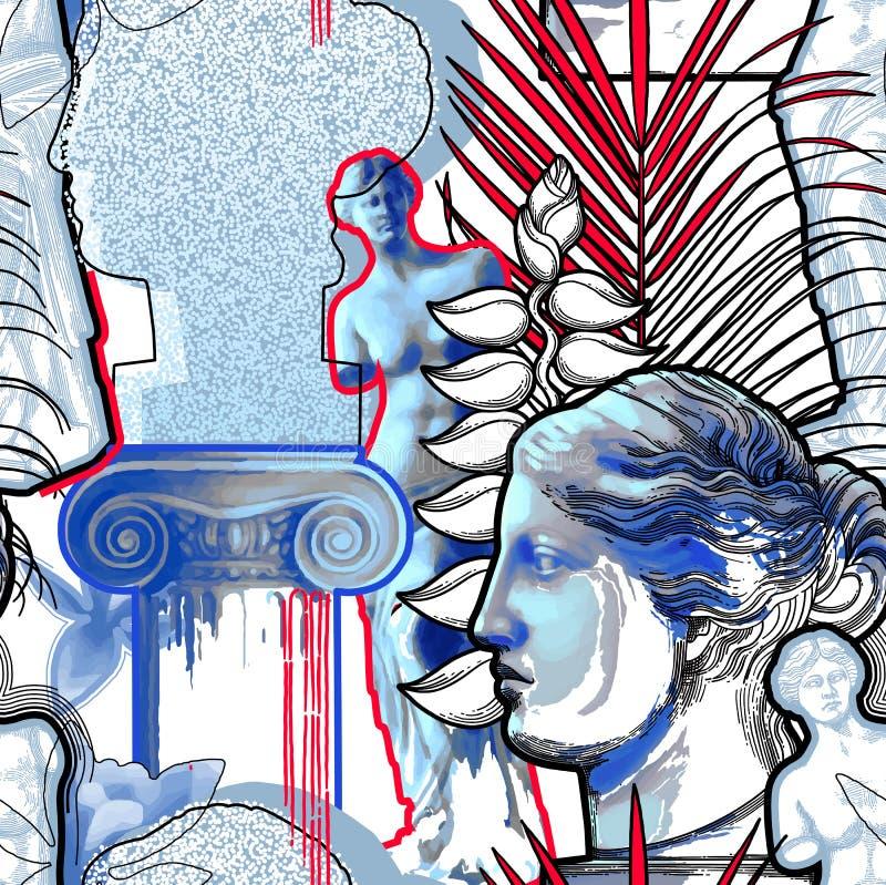 Concevez avec la sculpture, la colonne et les fleurs en Venus de Milo illustration libre de droits