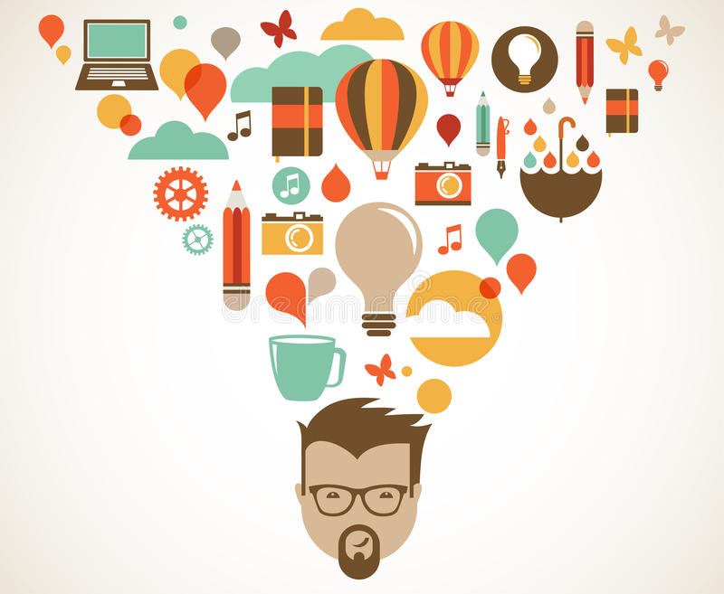 Concevez, créatif, idée et concept d'innovation illustration de vecteur