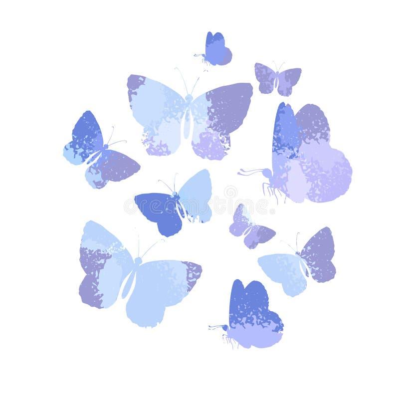 Concevez, ensemble de papillons d'aquarelle de silhouettes de bleu d'isolement sur le fond blanc illustration stock