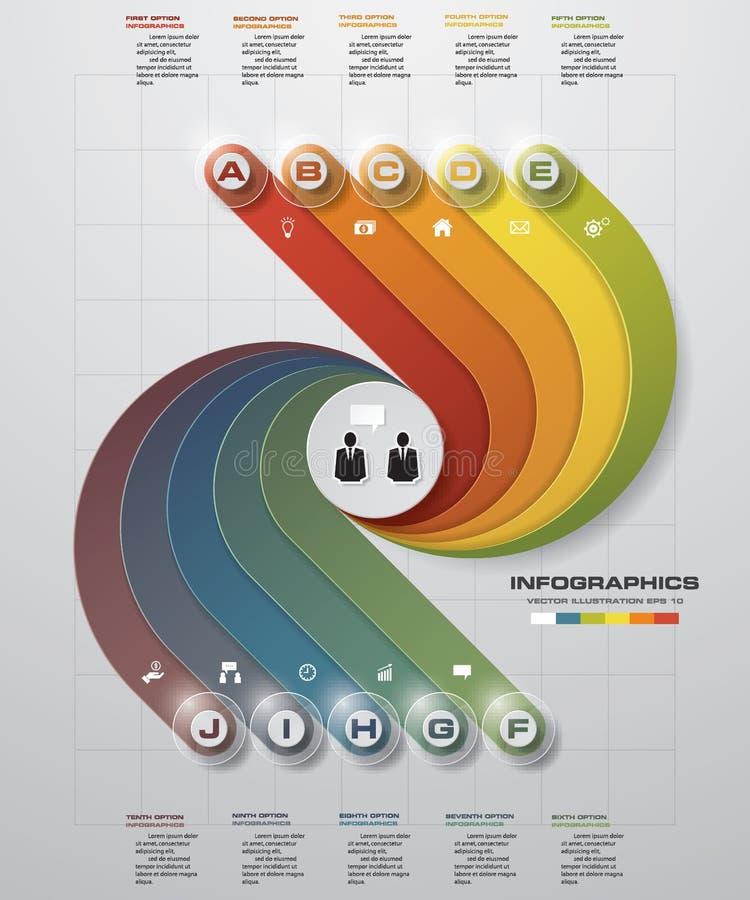 Concevez le calibre de bannières de nombre/disposition propre de graphique ou de site Web diagramme de 10 étapes illustration stock