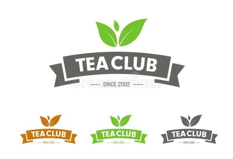 Concevez le logo de vecteur avec le ruban et les feuilles pour le club de thé, le magasin ou le produit illustration de vecteur