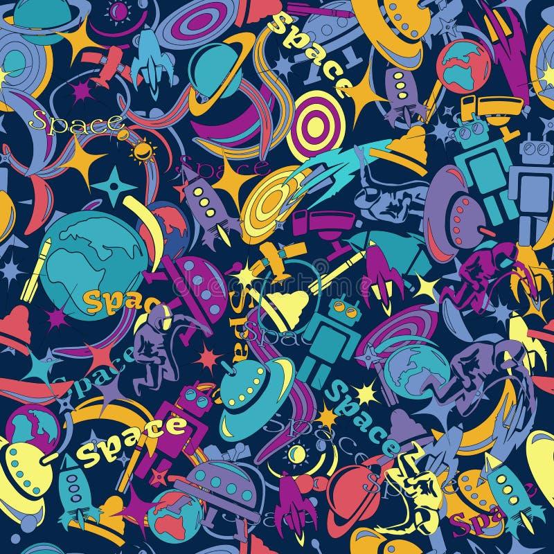 Concevez le modèle sans couture sur le thème de l'exploration d'espace bande dessinée, dessinée dans le style des griffonnages illustration libre de droits