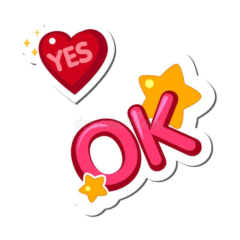 Concevez les éléments, les autocollants, le coeur avec le mot oui et l'ok d'inscription illustration de vecteur