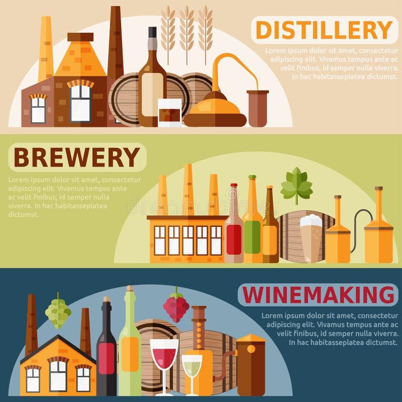 Concevez les bannières horizontales de vecteur sur la distillerie, la vinification a illustration libre de droits