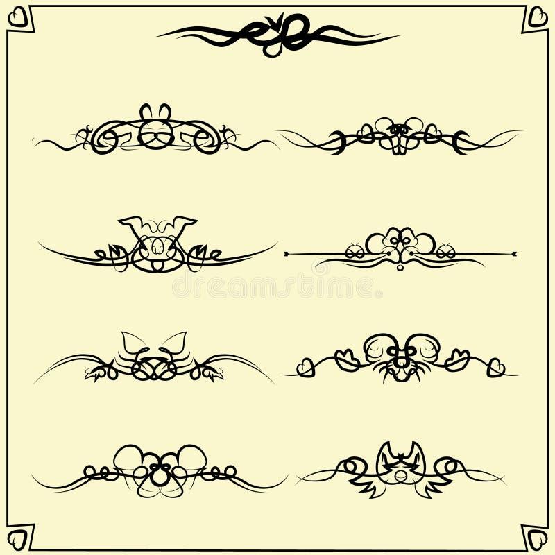 Concevez les diviseurs de vintage d'éléments dans la couleur noire, formes abstraites d'animaux Décoration de page Illustration d illustration de vecteur