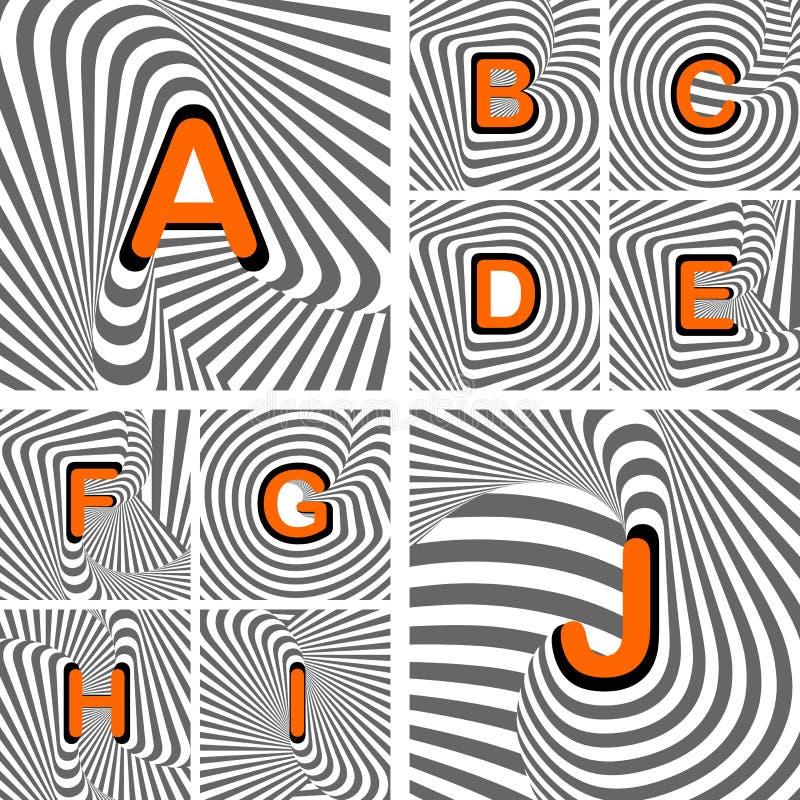 Concevez les lettres d'alphabet d'A au wavin de J. Striped illustration de vecteur