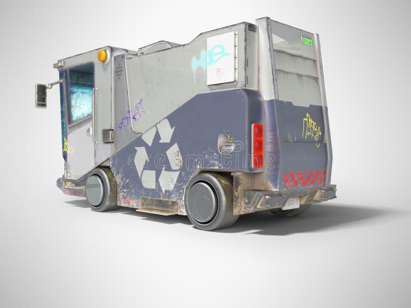Concevoir un camion à ordures bleu moderne pour la ville vue arrière rendu 3d sur fond gris avec ombre illustration libre de droits