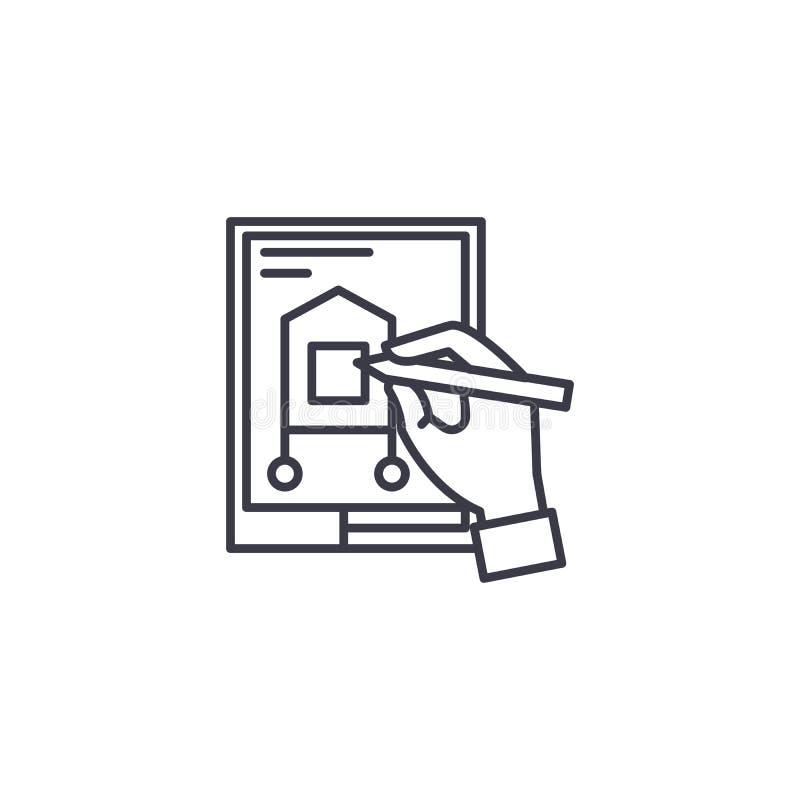 Concevoir un concept linéaire d'icône de projet En concevant un projet rayez le signe de vecteur, symbole, illustration illustration de vecteur