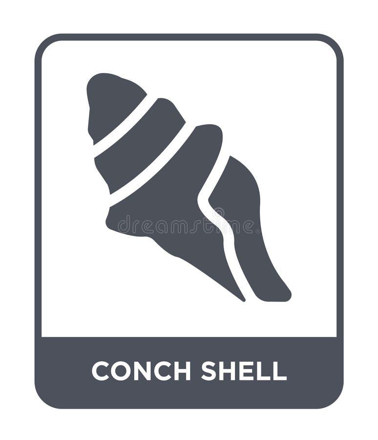 conch εικονίδιο κοχυλιών στο καθιερώνον τη μόδα ύφος σχεδίου conch εικονίδιο κοχυλιών που απομονώνεται στο άσπρο υπόβαθρο conch δ απεικόνιση αποθεμάτων