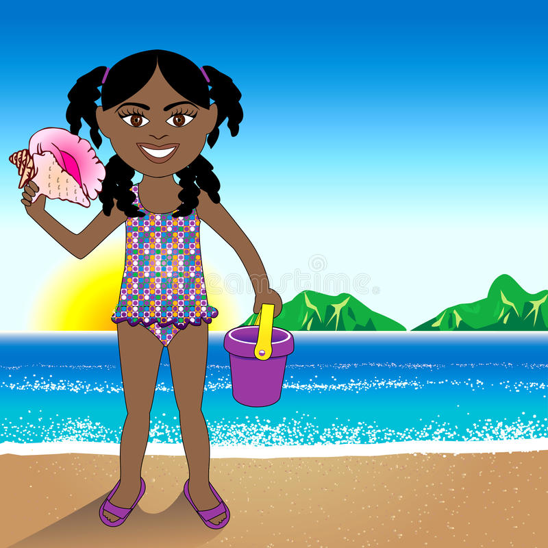 Download Conch Shell Beach Girl Royalty Free Stock Photos - Image: 25163428