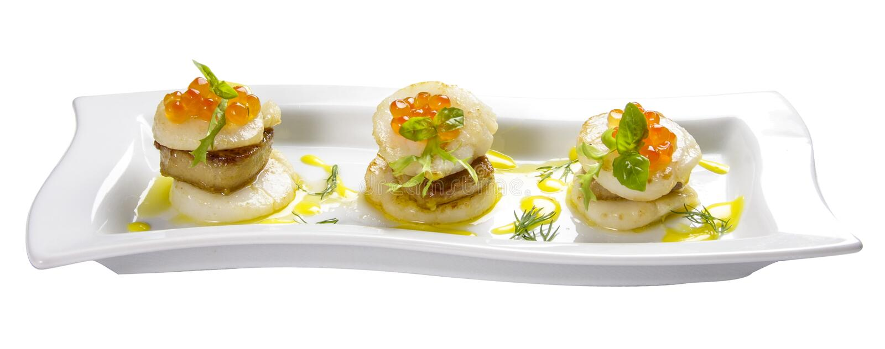 Concha de peregrino con gras del foie imagen de archivo libre de regalías