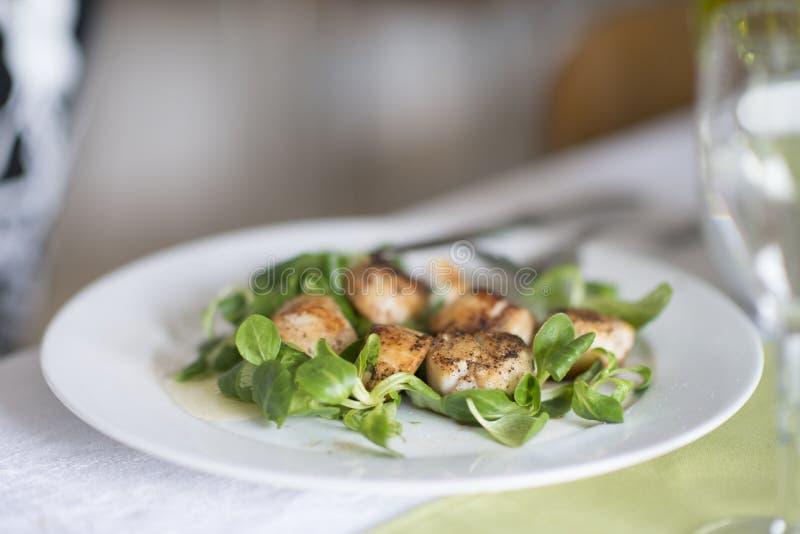 Concha de peregrino fresca asada a la parrilla en la ensalada Primer de conchas de peregrino chamuscadas Los mariscos de Normandi fotografía de archivo