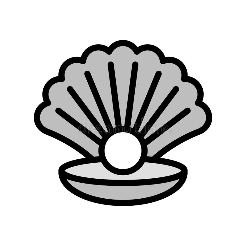 Concha do mar com vetor da pérola, ícone enchido relacionado tropical do estilo ilustração royalty free