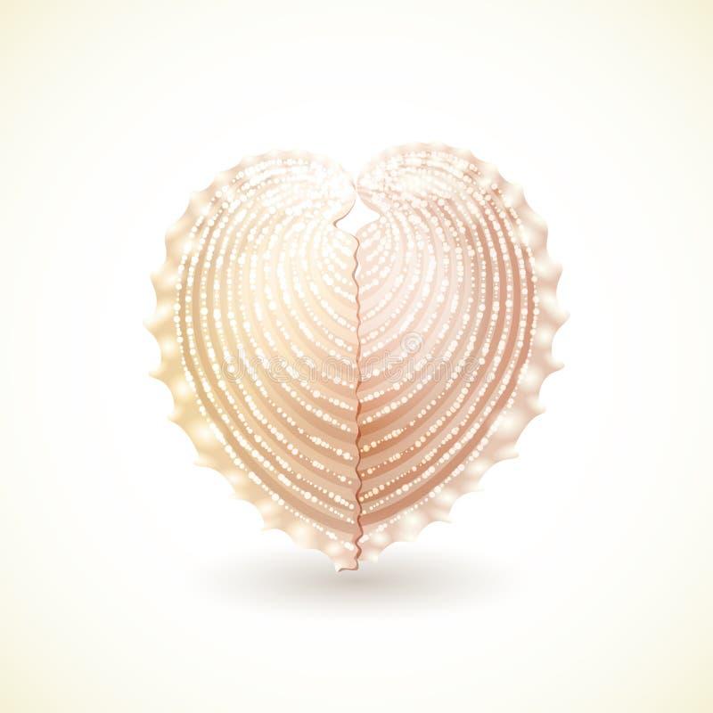 Concha do mar dada forma coração, isolada no branco. ilustração stock