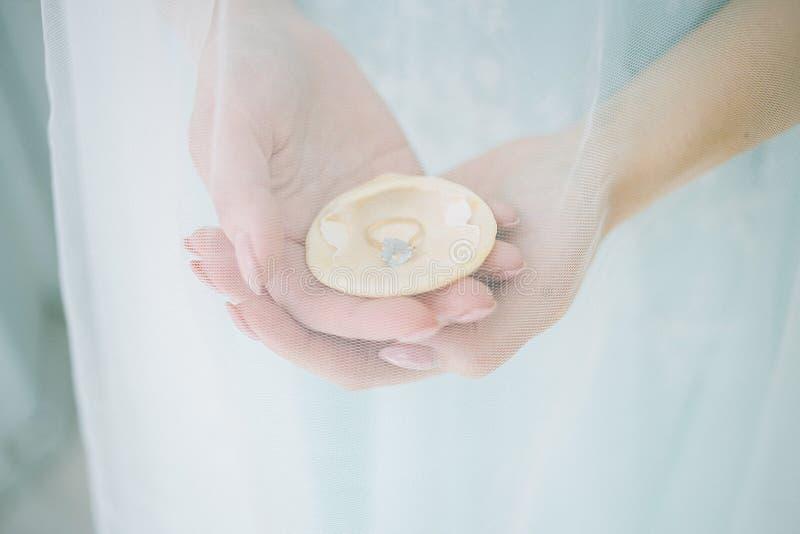 Concha do mar nas mãos da noiva fotografia de stock