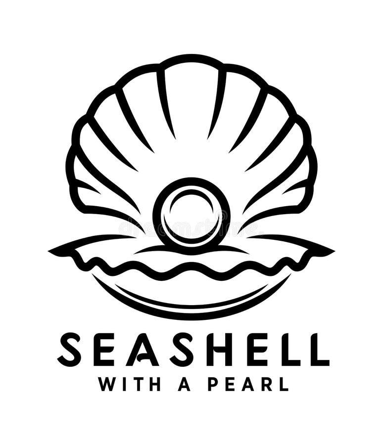Concha marina con el icono del esquema de la perla stock de ilustración