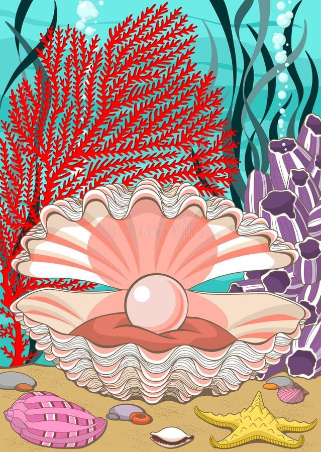 Concha marina con la perla subacuática ilustración del vector