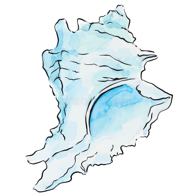 Concha marina del azul de la acuarela ilustración del vector