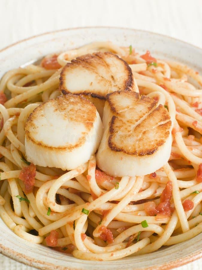 Conchas de peregrino con espagueti de los chiles y del tomate imagen de archivo libre de regalías