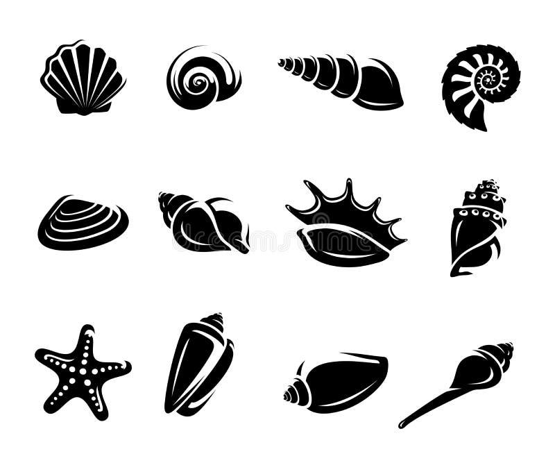 Conchas do mar ajustadas. Vetor ilustração do vetor
