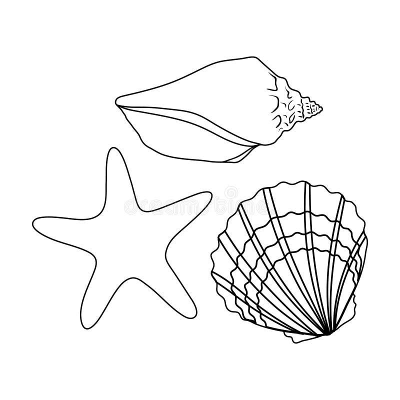 Conchas marinas de la parte inferior del mar El resto del verano escoge el icono en el ejemplo de la acción del símbolo del vecto ilustración del vector