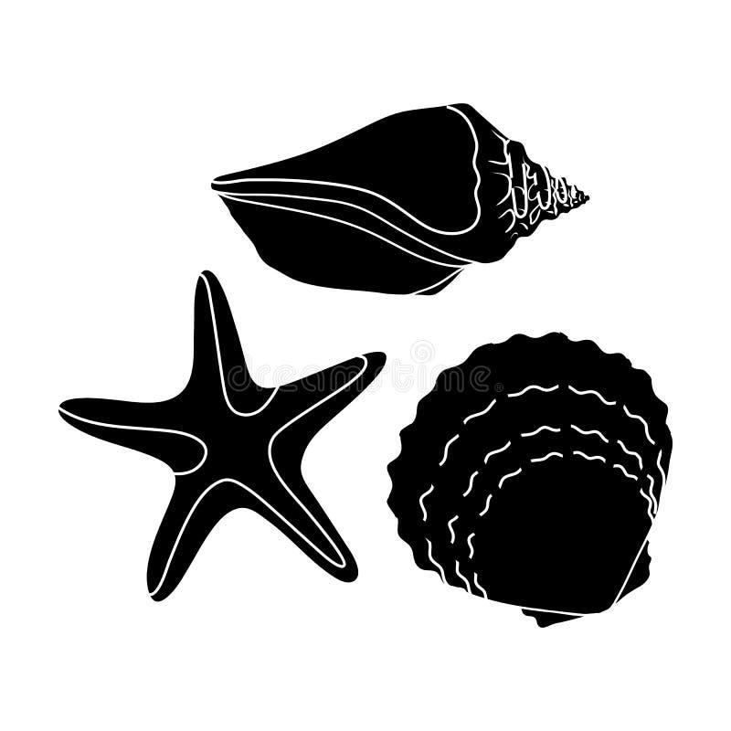 Conchas marinas de la parte inferior del mar El resto del verano escoge el icono en el ejemplo negro de la acción del símbolo del ilustración del vector
