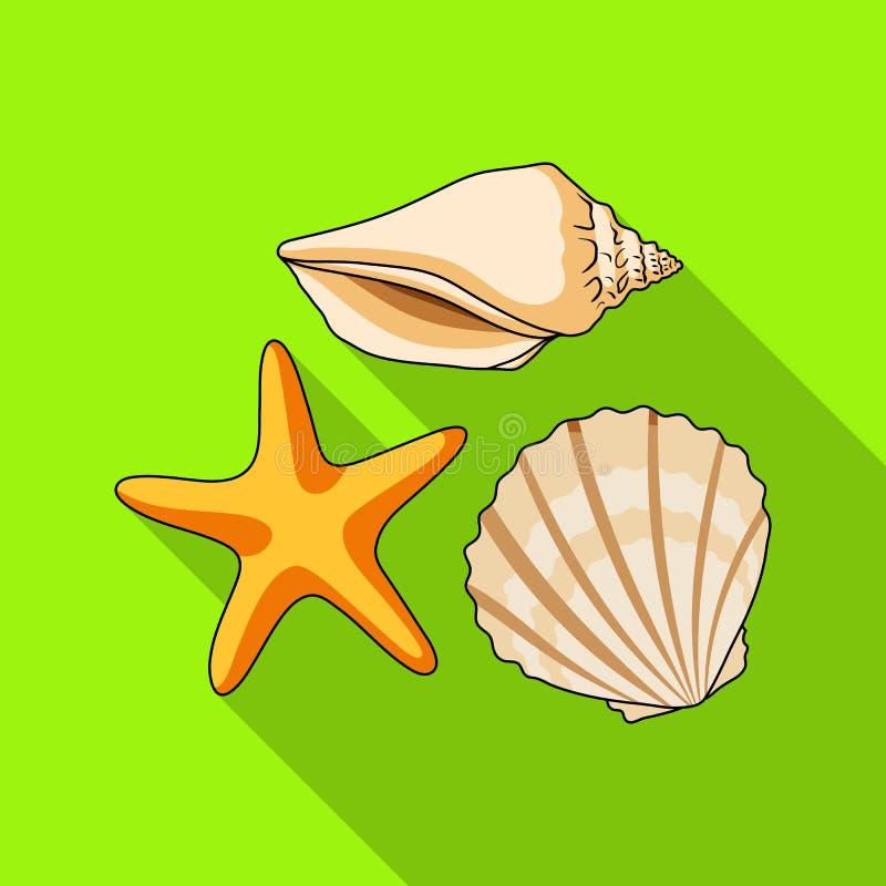 Conchas marinas de la parte inferior del mar El resto del verano escoge el icono en el ejemplo plano de la acción del símbolo del stock de ilustración