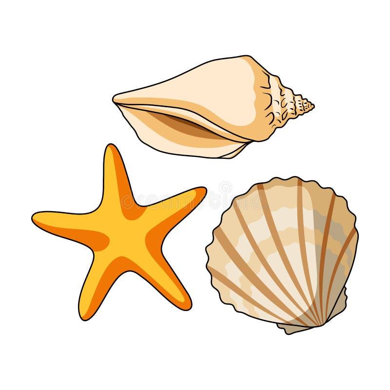 Conchas marinas de la parte inferior del mar El resto del verano escoge el icono en el rater del estilo de la historieta, ejemplo libre illustration