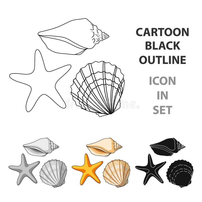Conchas marinas de la parte inferior del mar El resto del verano escoge el icono en el ejemplo de la acción del símbolo del vecto stock de ilustración