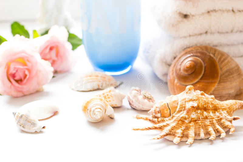 Conchas marinas, rosas rosadas y toallas de baño fotos de archivo libres de regalías