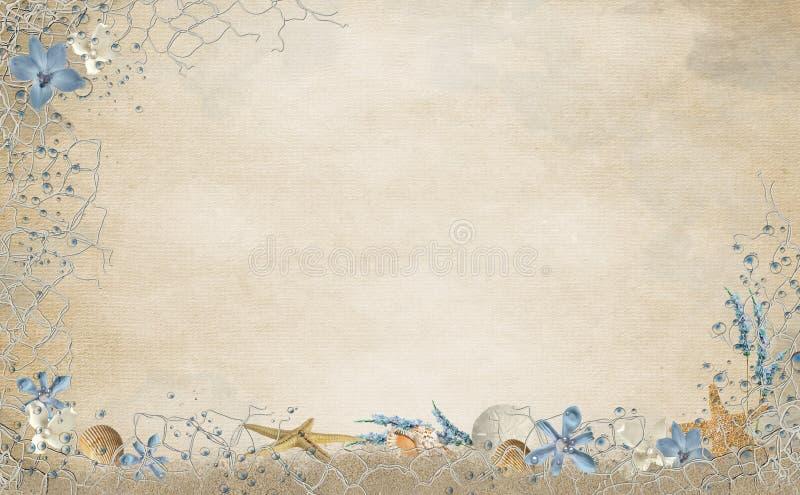 Conchas marinas y frontera de la red ilustración del vector
