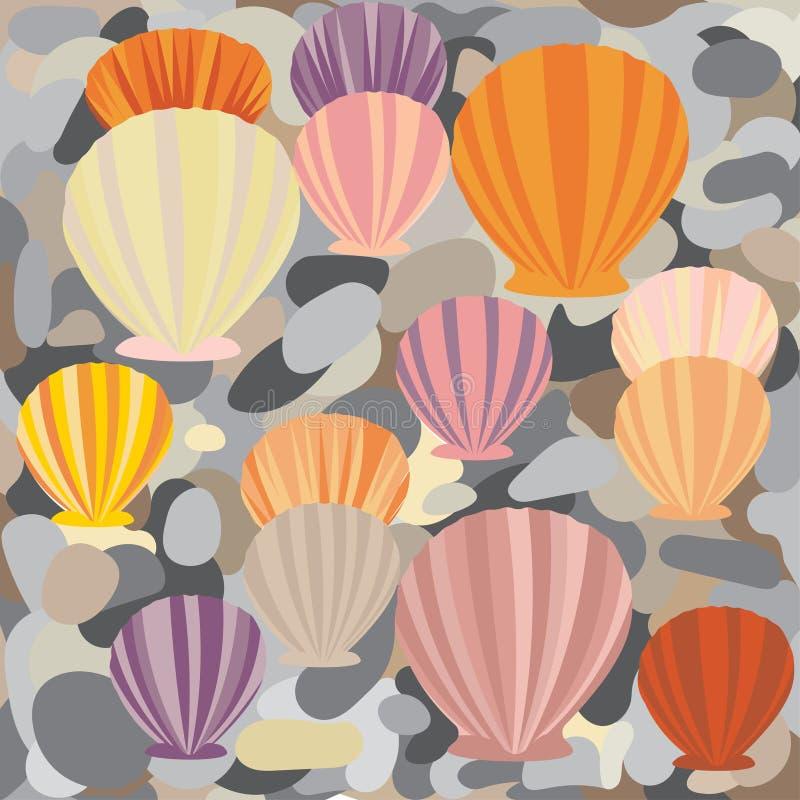 Conchas marinas y piedras de la parte inferior de mar del modelo del fondo libre illustration