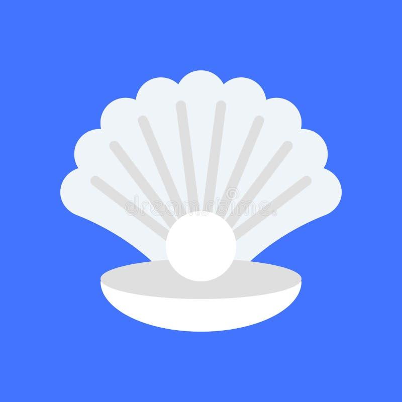 Conchiglia con il vettore della perla, icona piana relativa tropicale di stile illustrazione vettoriale