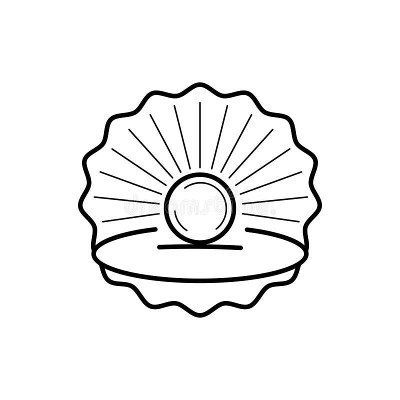 Conchiglia con l'icona pronta per la vostra progettazione, cartolina d'auguri del profilo della perla illustrazione di stock