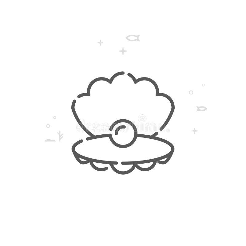 Conchiglia con la linea icona, simbolo, pittogramma, segno di vettore della perla Fondo geometrico astratto leggero Colpo editabi royalty illustrazione gratis