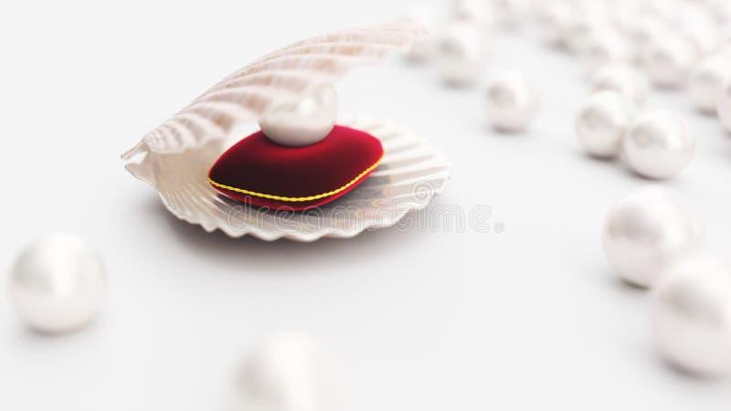 Conchiglia con la perla su un cuscino rosso molle del velluto con un colpo dell'oro Bella perla, gioielli costosi per le donne illustrazione vettoriale