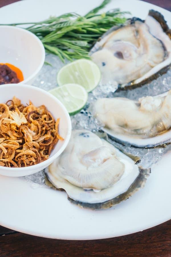 Conchiglia di ostrica con salsa piccante immagini stock