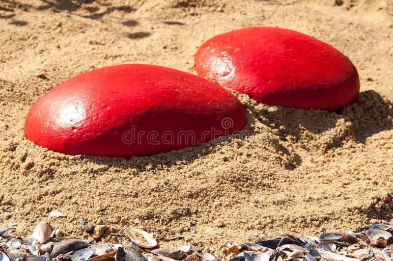 Conchiglie con la pietra rossa sulla sabbia immagine stock libera da diritti