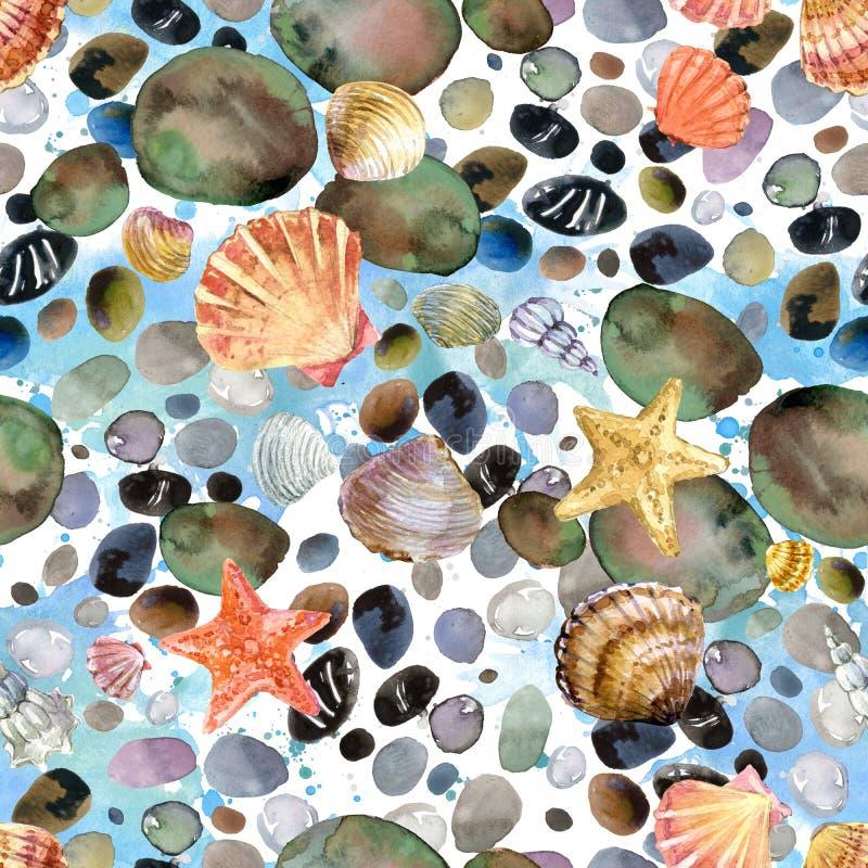 Conchiglie dell'acquerello e modello senza cuciture disegnato a mano delle pietre del mare royalty illustrazione gratis