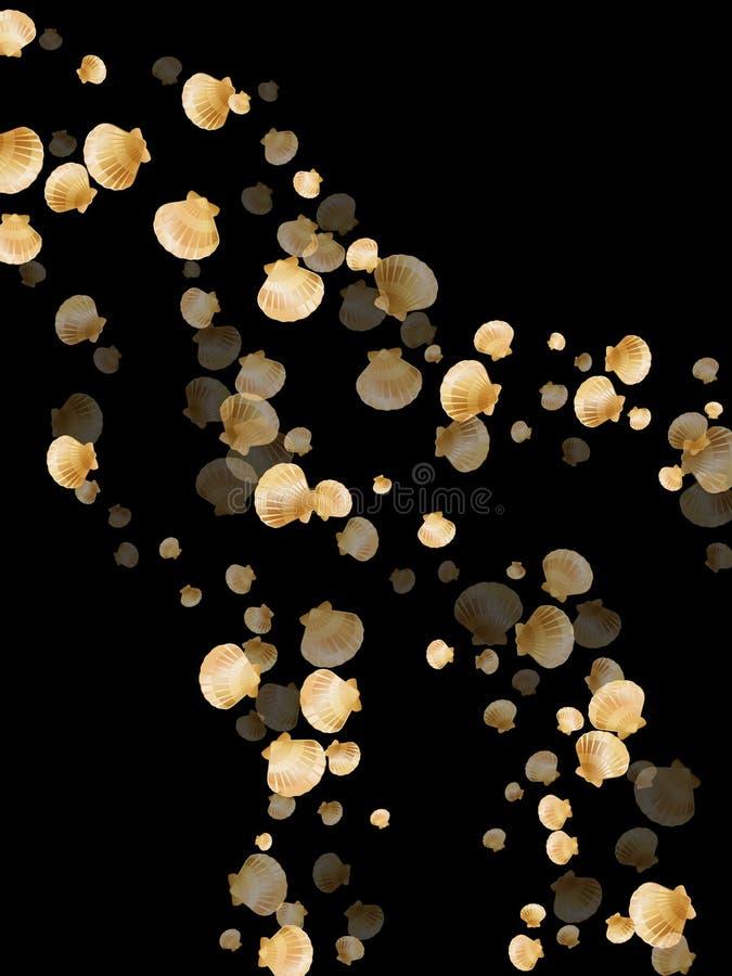 Conchiglie dell'oro, molluschi bivalvi della perla dorata royalty illustrazione gratis