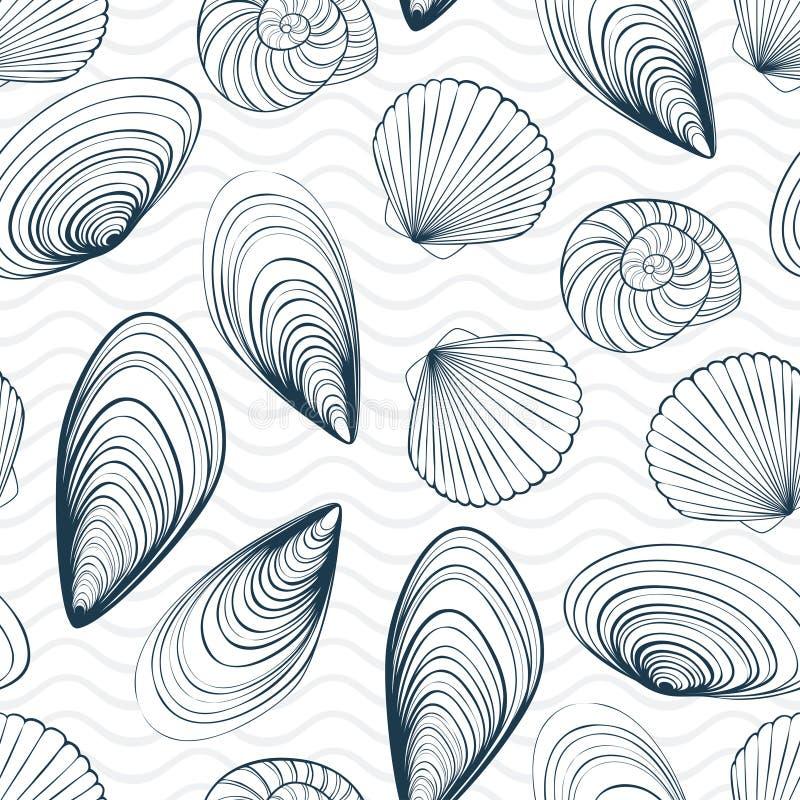 Conchiglie e modello senza cuciture di vettore di onde illustrazione vettoriale