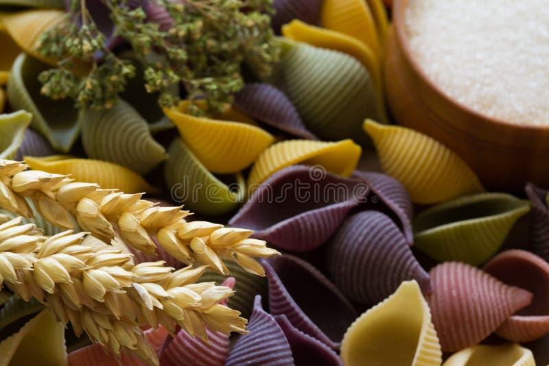 Conchiglie mit Kräutern, den Weizenähren und Salz Violett, gelb, gree lizenzfreie stockbilder
